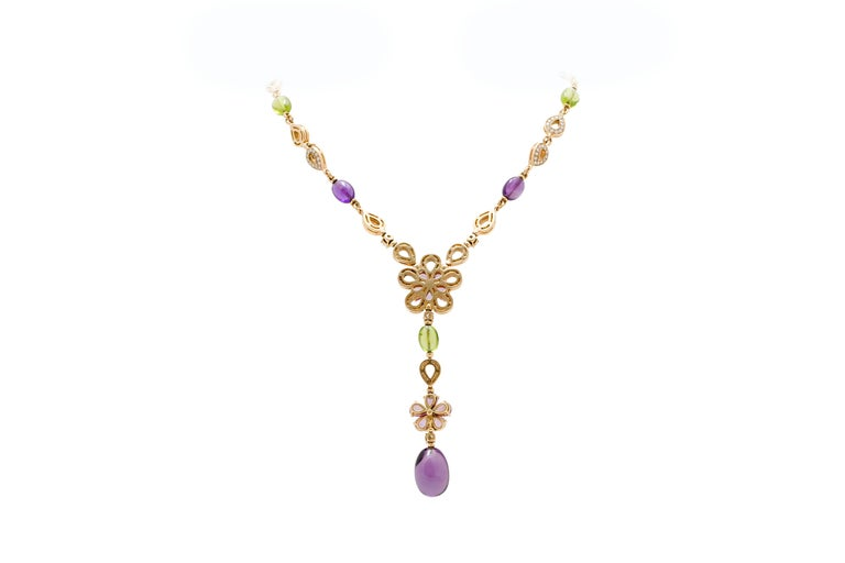 Bulgari Bvlgari  Diamond and Color Stone Necklace Earring and Ring Set 3