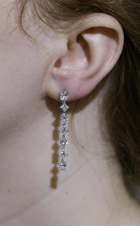 Cartier Classic Diamond Gold Platinum Drop Earrings In Excellent Condition For Sale In Sunny Isles Beach, FL