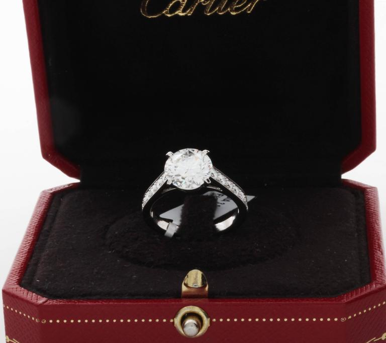Cartier GIA Cert 3.04 Carat Diamond Platinum Engagement Ring 6