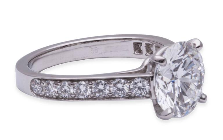 Cartier GIA Cert 3.04 Carat Diamond Platinum Engagement Ring 3