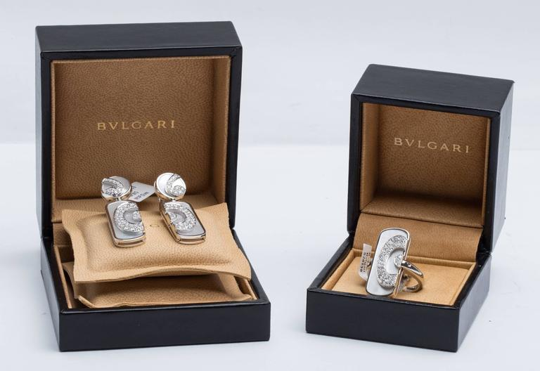 Bulgari BVLGARI Diamond and Mother of Pearl Ring and Earring Set For