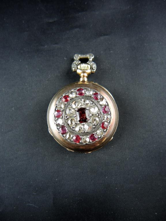 Rose Gold Diamonds Rubies Garnet Pocket Watch circa 19th Century 2