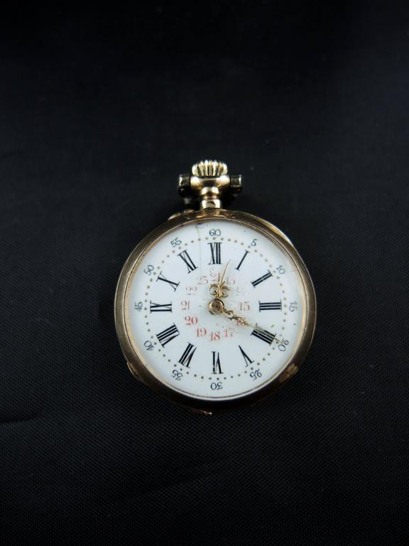 Rose Gold Diamonds Rubies Garnet Pocket Watch circa 19th Century 3