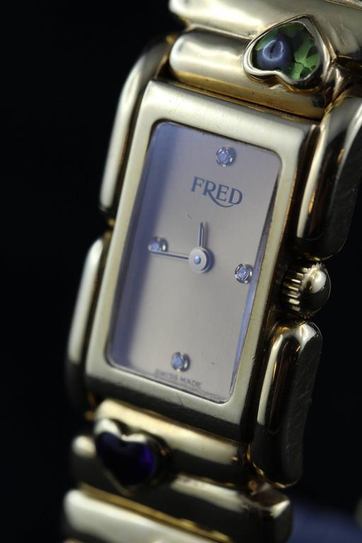 Fred Lady Wristwatch in Gold and Semi Precious Stones, circa 1990 4