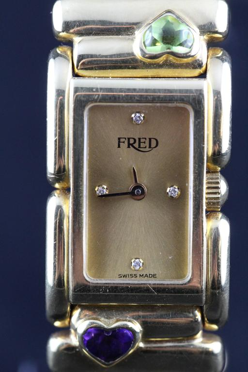 Fred Lady Wristwatch in Gold and Semi Precious Stones, circa 1990 3