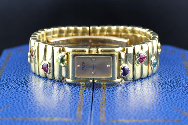 Fred Lady Wristwatch in Gold and Semi Precious Stones, circa 1990 5