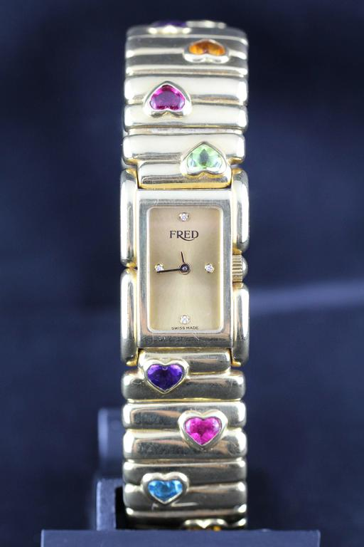 Fred Lady Wristwatch in Gold and Semi Precious Stones, circa 1990 2