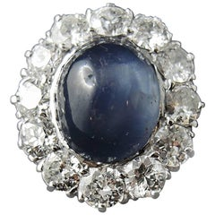 Star Sapphire 10.00 Carat and Diamonds French Engagement Cluster Ring