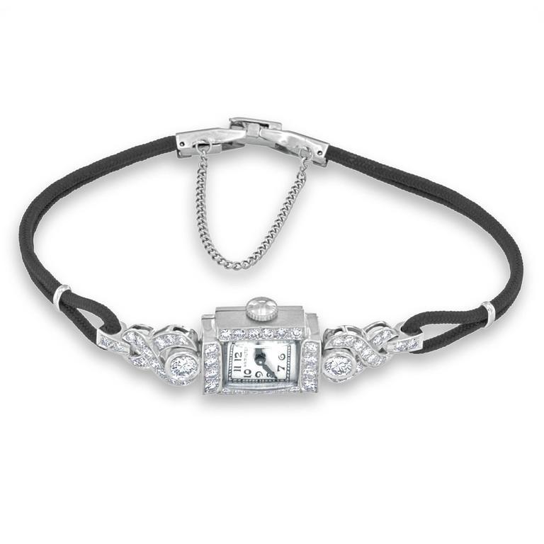Women's Hamilton ladies Platinum Diamond automatic Wristwatch For Sale