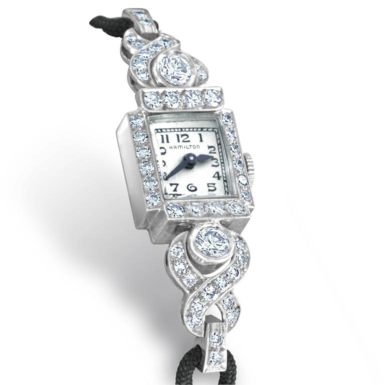 Retro Hamilton ladies Platinum Diamond automatic Wristwatch For Sale