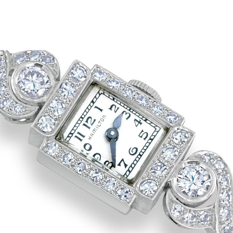 Hamilton ladies Platinum Diamond automatic Wristwatch In Excellent Condition For Sale In Grosse Pointe Woods, MI