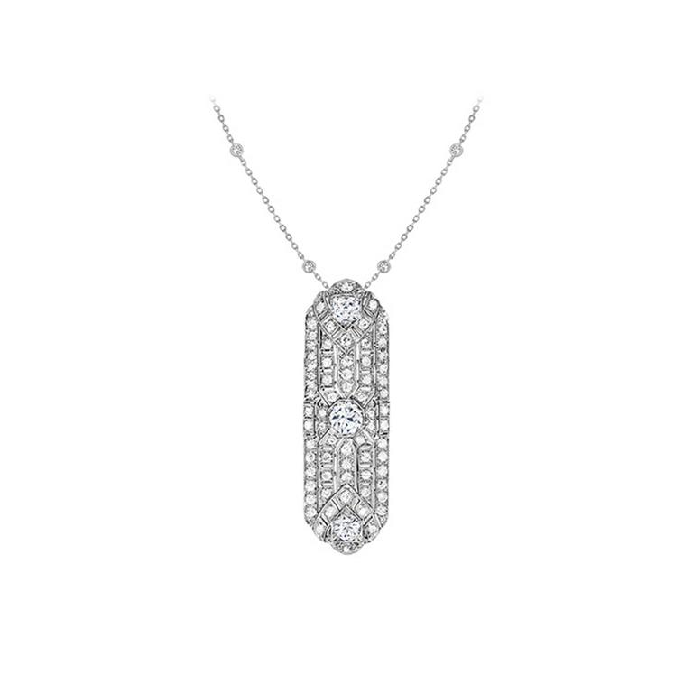 3.51 Carat Old European Cut Diamond Platinum Pendant For Sale