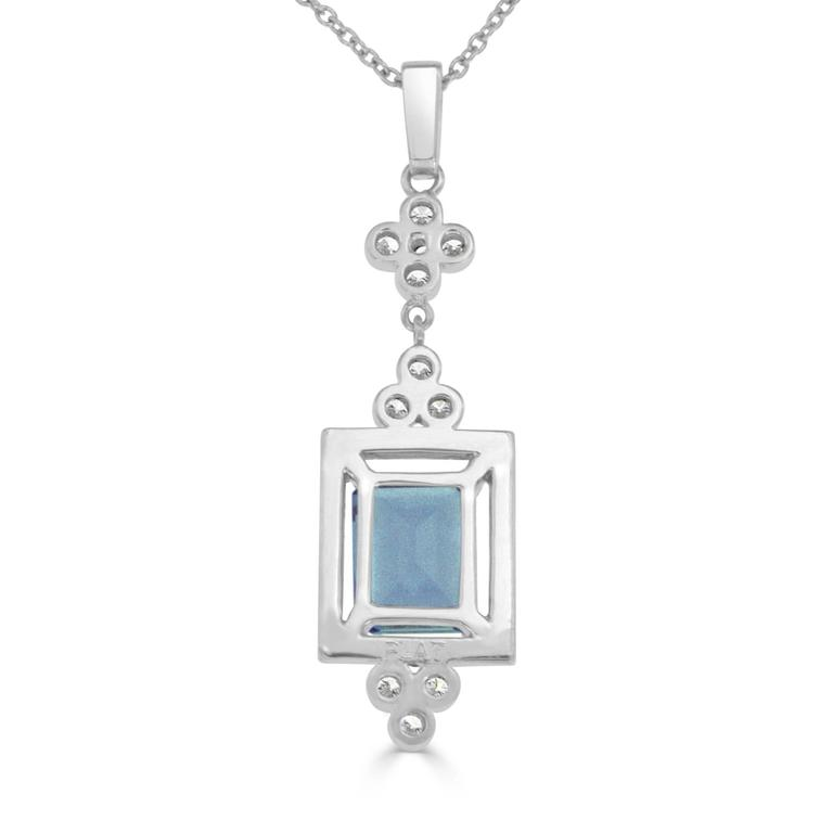 2.92 Carat Emerald Cut Aquamarine and Diamond Platinum Necklace 3