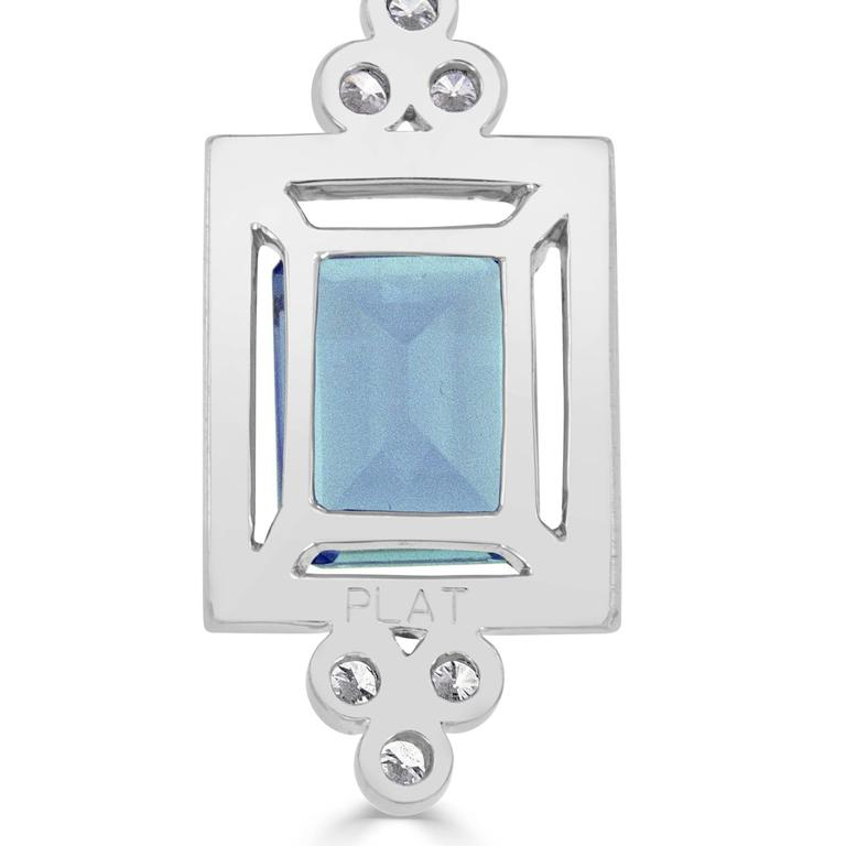 2.92 Carat Emerald Cut Aquamarine and Diamond Platinum Necklace 4