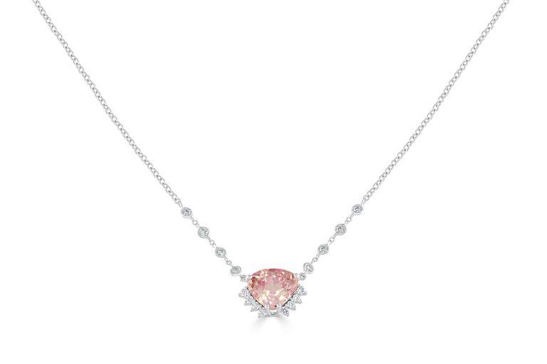 Kunzite Diamond White Gold Necklace 2