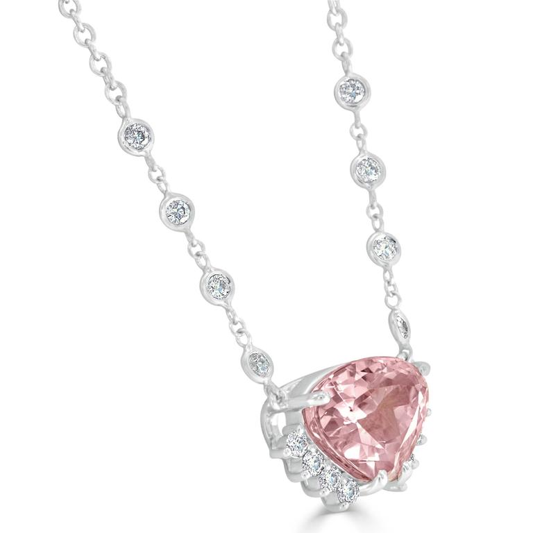 Kunzite Diamond White Gold Necklace 3