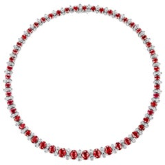 Burmese Oval Cut Ruby and Diamond Necklace