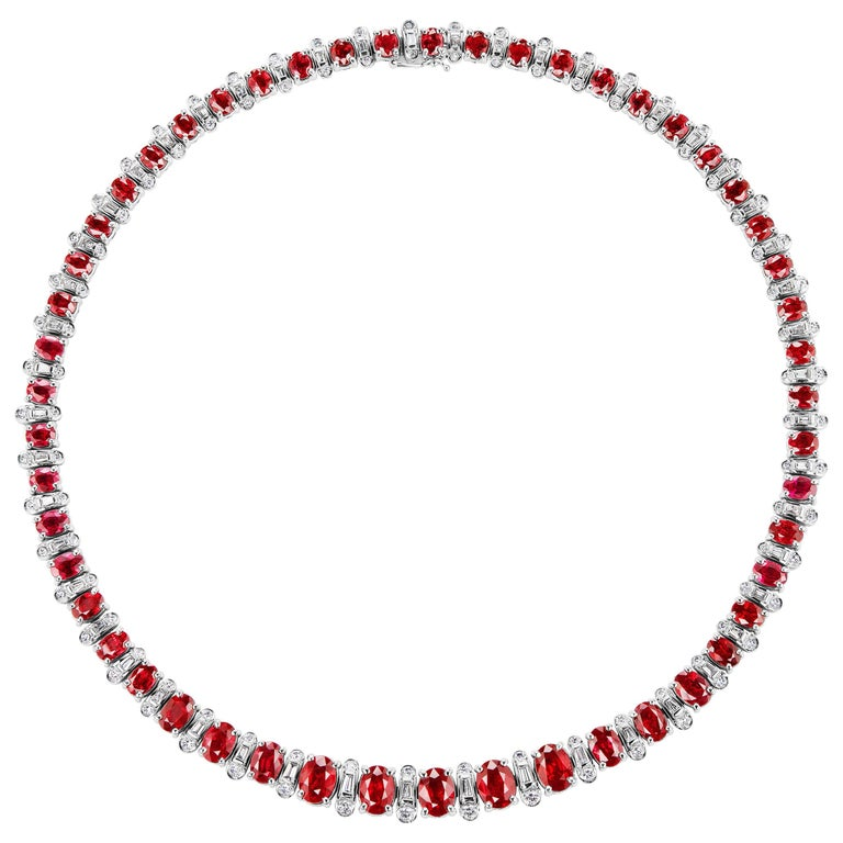 Burmese Oval Cut Ruby and Diamond Necklace