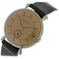 Jaeger-LeCoultre Stainless Steel Wristwatch with Rose Dial and Flared Lugs