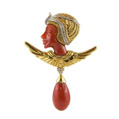 Egyptian Revival Pharaoh Coral Gold Diamond Brooch