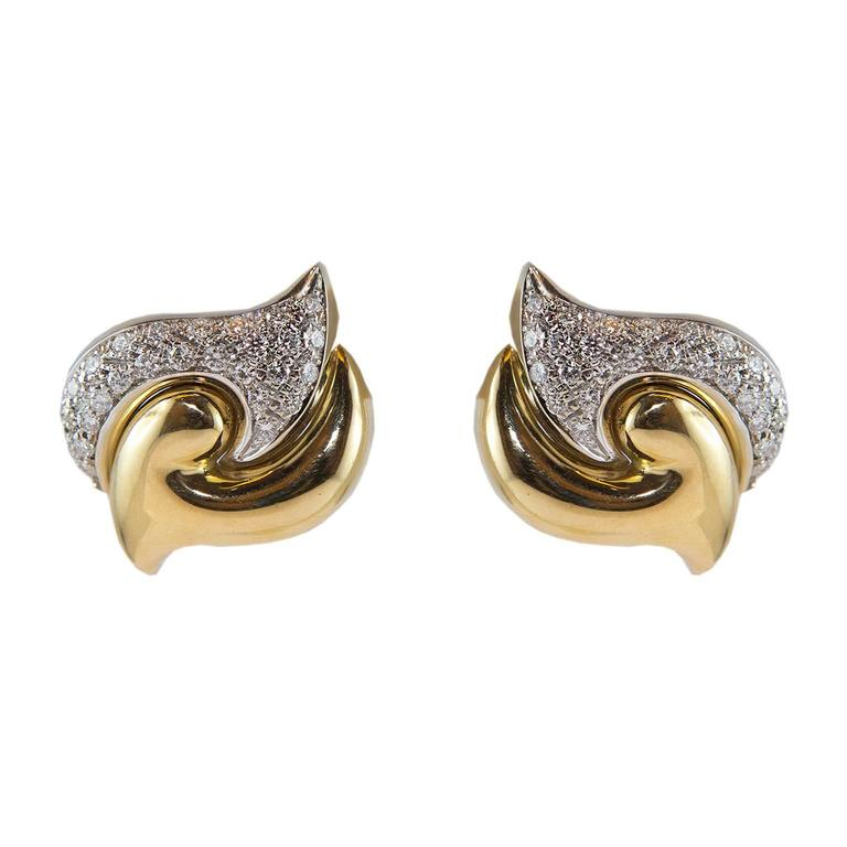 18KT Gold Earrings and Diamonds