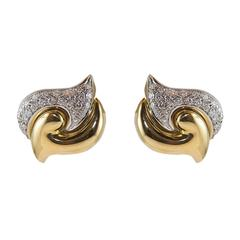 18 Karat Yellow Gold Earrings and Diamonds