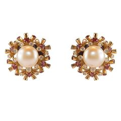 Pearl Diamond Sapphire Gold Earrings