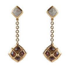 18 Karat Gold Dangle Earrings with Garnets and Diamonds