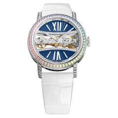 Corum white gold Golden Bridge manual wind wristwatch