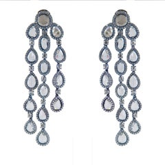 Titanium Dangle Earrings with Diamonds