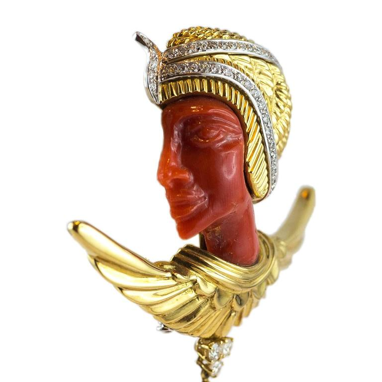 Egyptian Revival Pharaoh Coral Gold Diamond Brooch In As New Condition For Sale In Florence, Tuscany