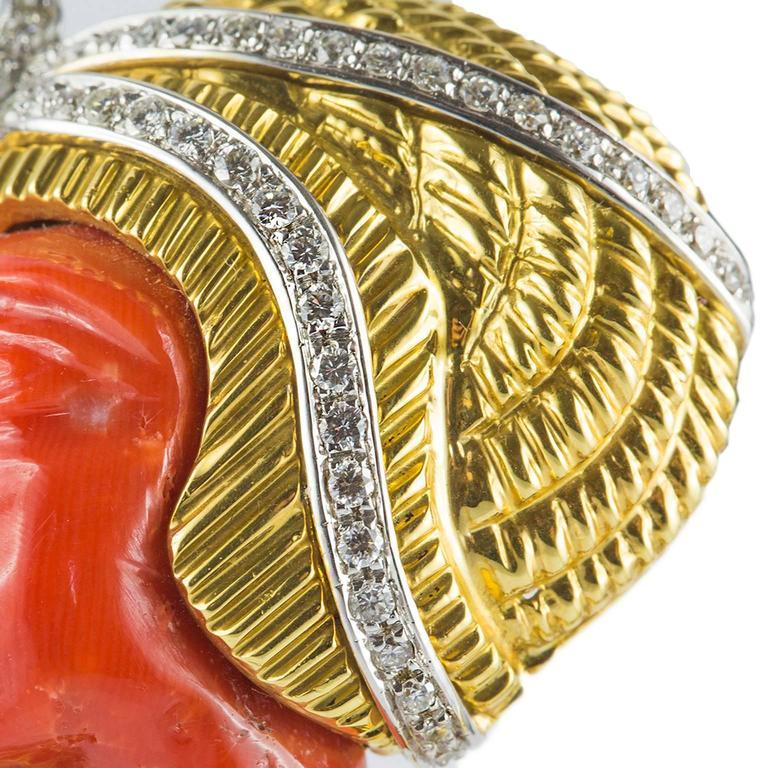 Women's Egyptian Revival Pharaoh Coral Gold Diamond Brooch For Sale