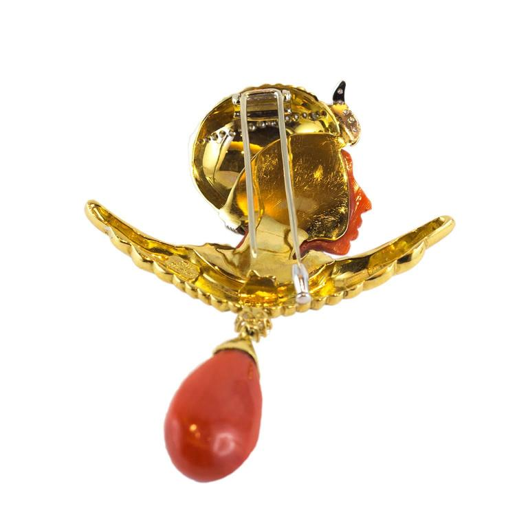 Egyptian Revival Pharaoh Coral Gold Diamond Brooch For Sale 1