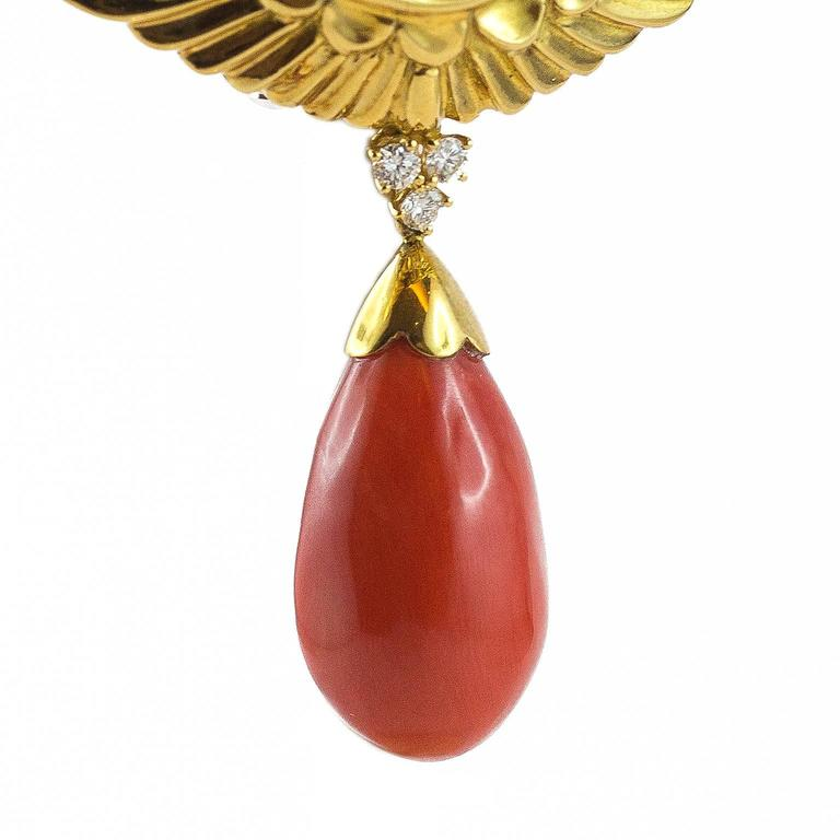Egyptian Revival Pharaoh Coral Gold Diamond Brooch For Sale 2