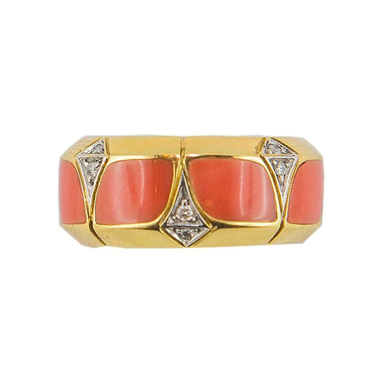 Coral Diamond Gold Ring 2