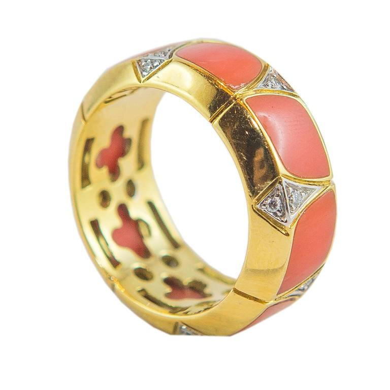 Coral Diamond Gold Ring 3