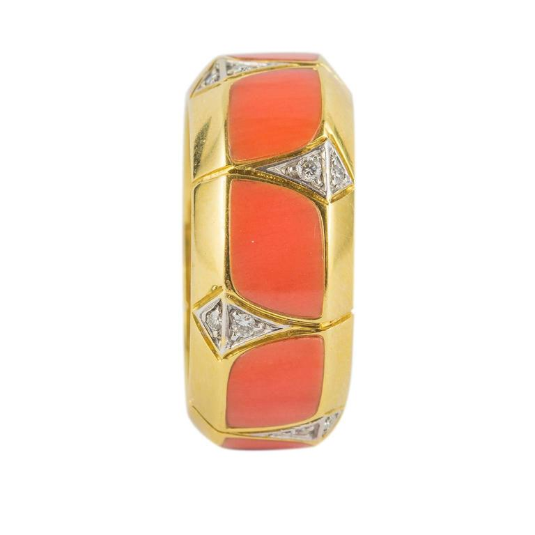 Coral Diamond Gold Ring 4
