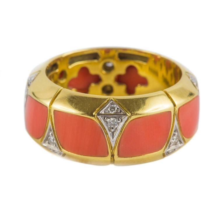 Coral Diamond Gold Ring 5
