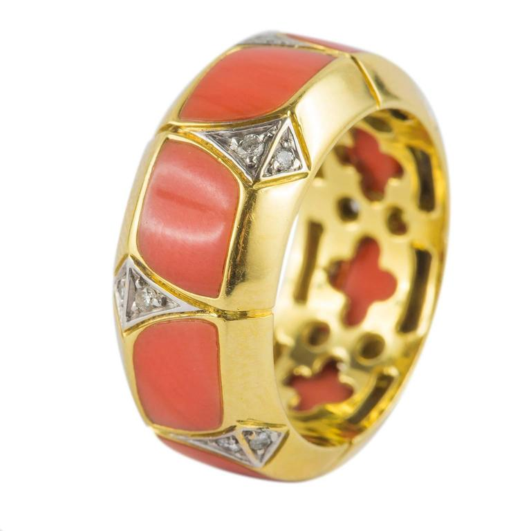 Coral Diamond Gold Ring 6
