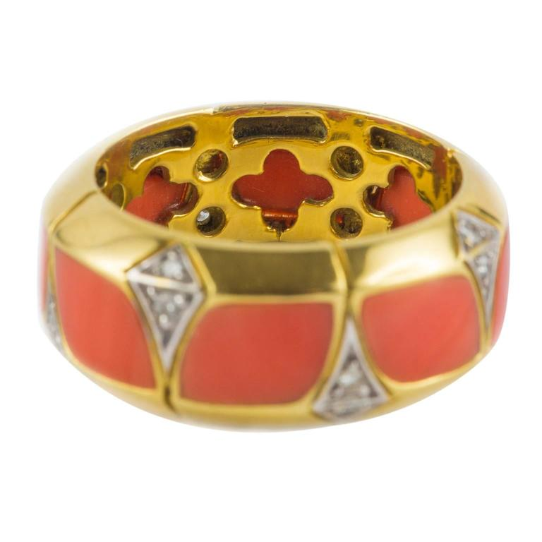 Coral Diamond Gold Ring 7
