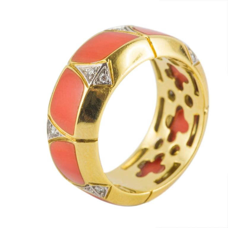 Coral Diamond Gold Ring 9