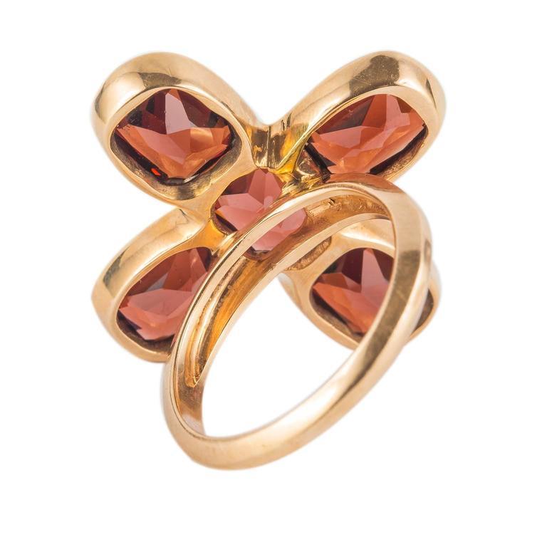 Smoky Quartz Citrine Red Gold Ring