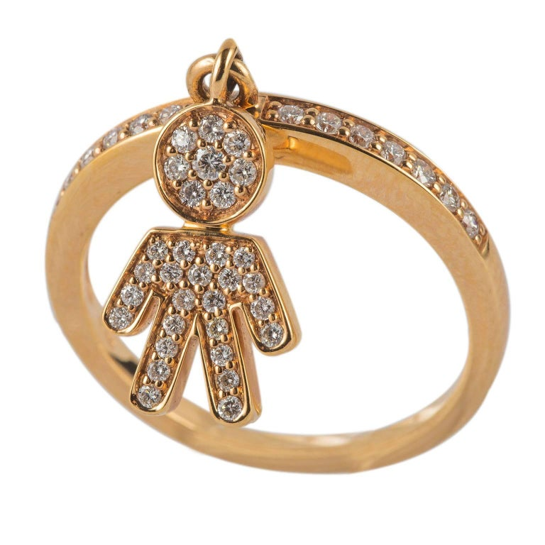 Diamond Yellow Gold Baby Boy Ring For Sale at 1stdibs