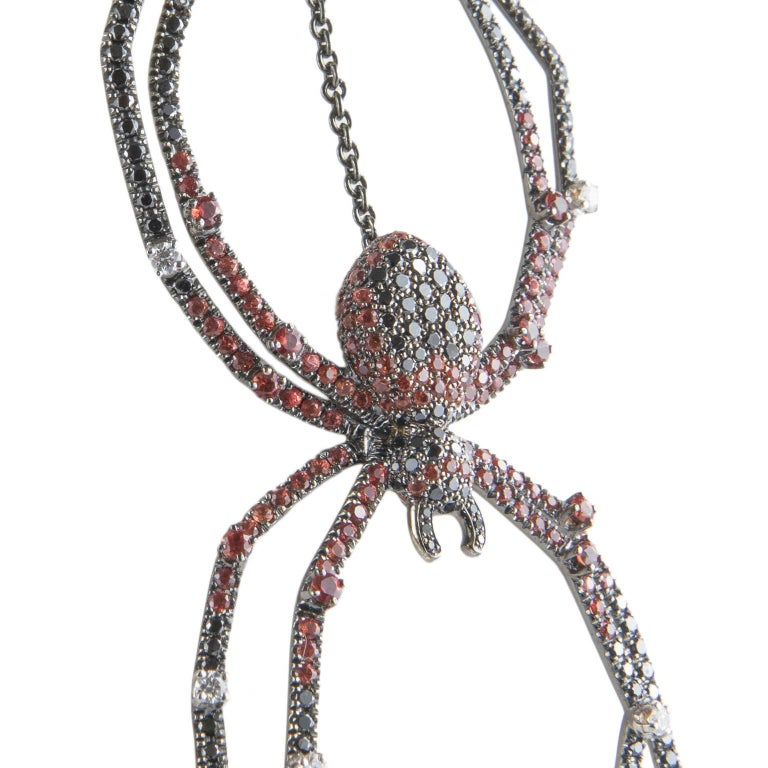 Modern 18 Karat Gold Diamond Spider Necklace For Sale