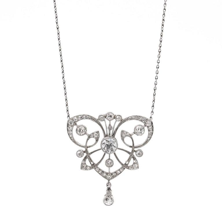 Antique 1890s Belle Époque Diamond Platinum Necklace 1