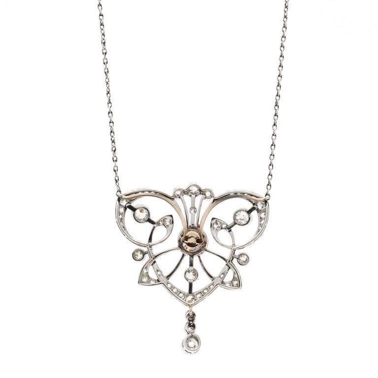 Antique 1890s Belle Époque Diamond Platinum Necklace 4