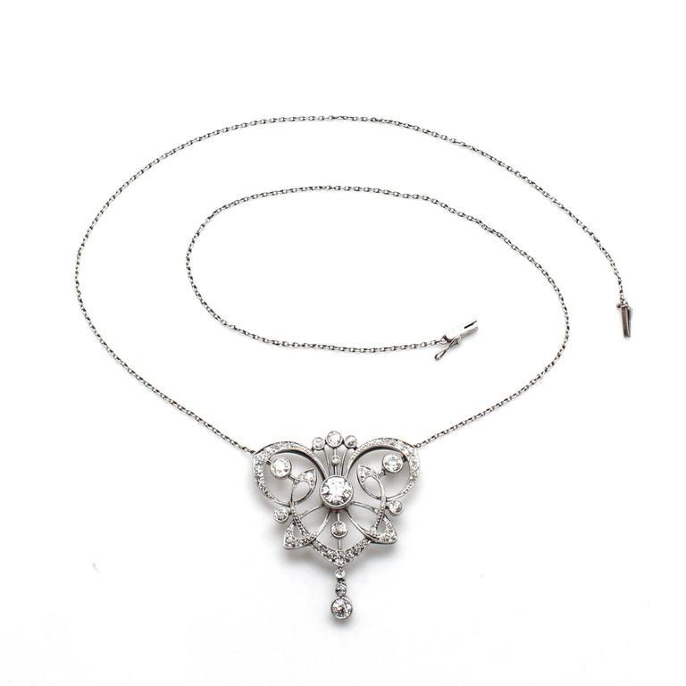 Antique 1890s Belle Époque Diamond Platinum Necklace 3