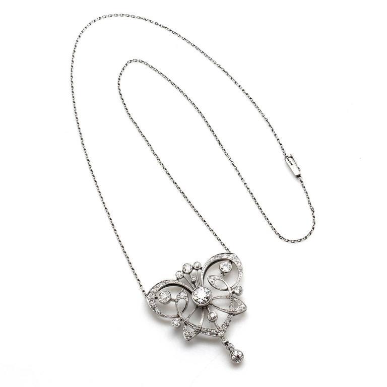 Antique 1890s Belle Époque Diamond Platinum Necklace 2