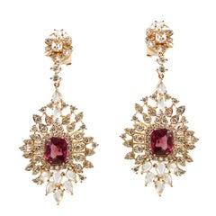 Spinel Diamond Starburst Chandelier Earrings