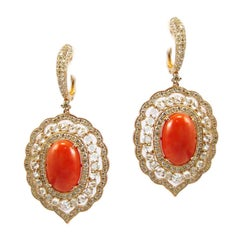Coral Diamond Drop Earring